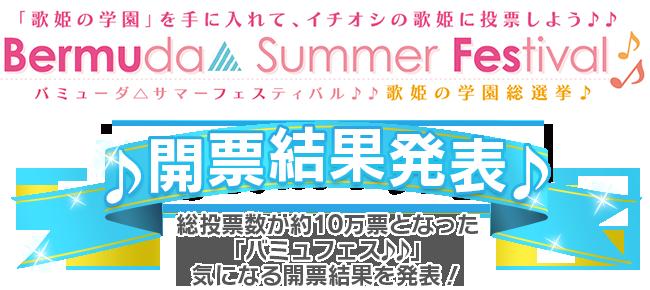 「バミューダ△サマーフェスティバル ♪♪歌姫の学園総選挙♪」開票結果発表!!